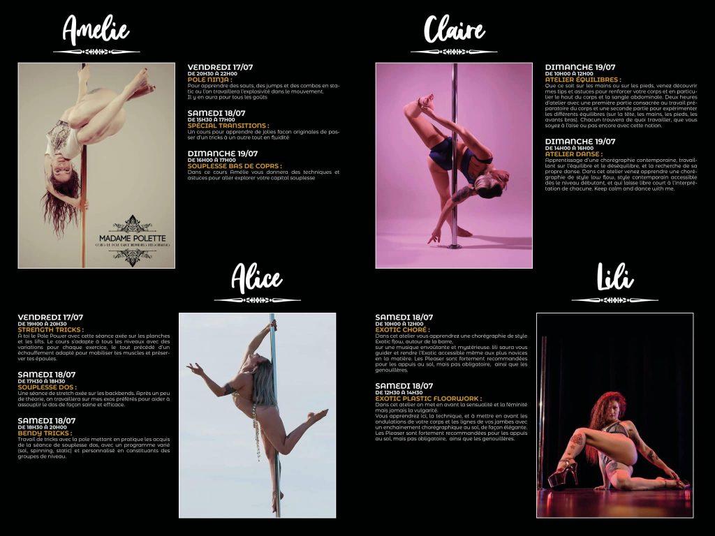Le programme du stage pole dance Madame Polette